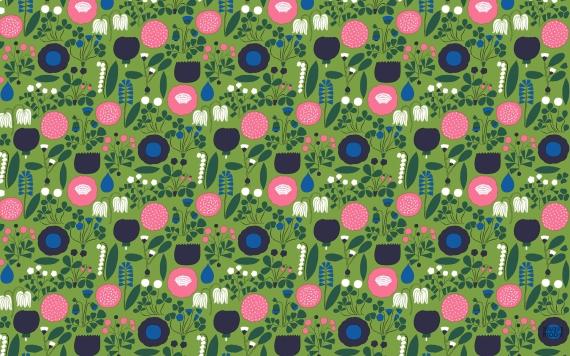 1. Finnish design company Marimeko's June desktop download nails the bright and busy trend.
