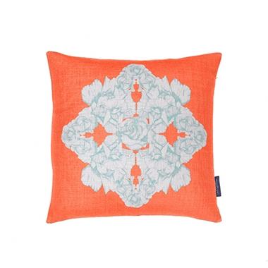Hand-illustrated cushion in Rose Windrose Flamingo