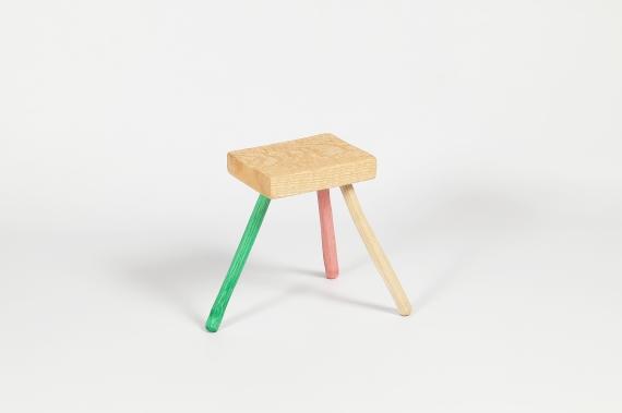 Three legged gouged stool James Carroll Pink Green Natural