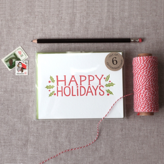 1. Letterpress Happy Holidays card, Chatty Press, around €14 for six