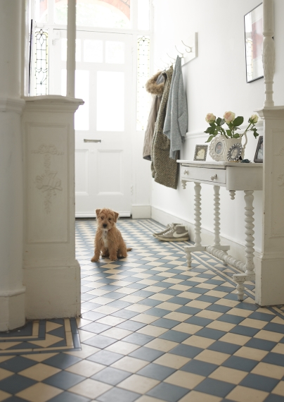 "Marnie, the pampered family pooch awaits guests on pretty blue and white tiles. ""Marnie is half Sealyham, half Lakeland terrier and 100 per cent trouble!"" Amanda laughs."