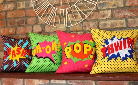 1. Comic Book Pop Art cushions by Peppermint Fizz, €61 each, Etsy