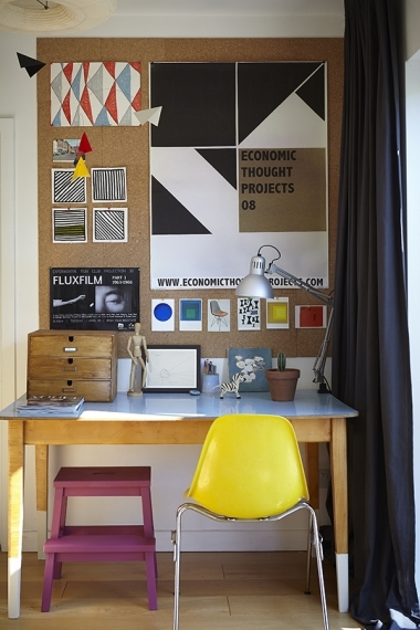 Yellow chair at desk