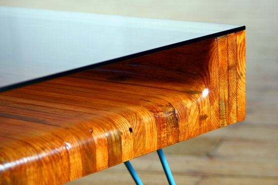 Bolt and hairpin glass-top table