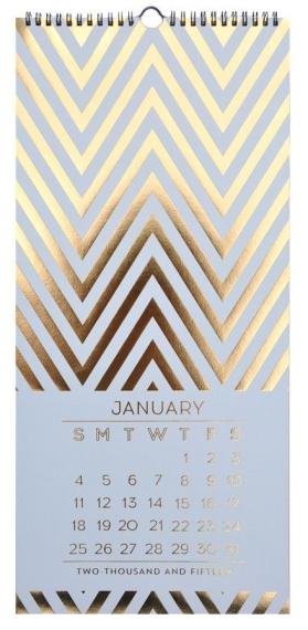 Gold foil 2015 calendar