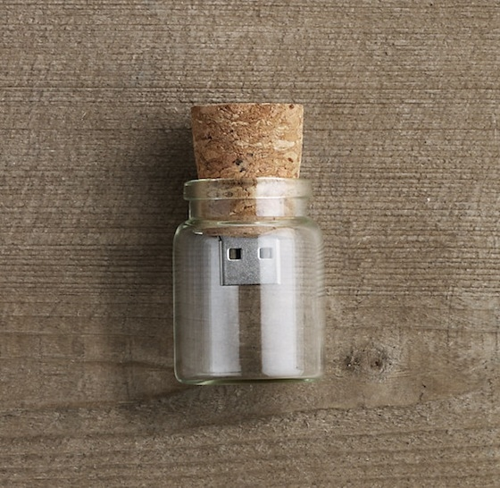 8GB glass bottle with wood cork USB flash drive, by Five, around €3.50, Amazon