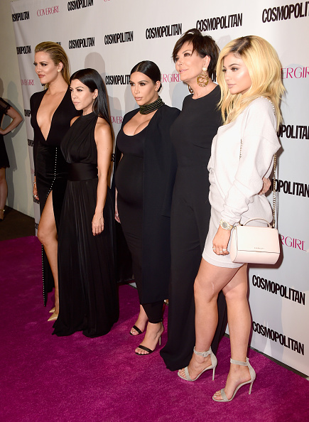 WEST HOLLYWOOD, CA - OCTOBER 12: (L-R) TV personalities Khloe Kardashian, Kourtney Kardashian, Kim Kardashian, Kris Jenner and Kylie Jenner attend Cosmopolitan's 50th Birthday Celebration at Ysabel on October 12, 2015 in West Hollywood, California. (Photo by Frazer Harrison/Getty Images for Cosmopolitan)