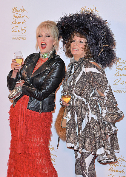 LONDON, ENGLAND - NOVEMBER 23: Joanna Lumley and Jennifer Saunders poses in the Winners Room at the British Fashion Awards 2015 at London Coliseum on November 23, 2015 in London, England. (Photo by Anthony Harvey/Getty Images)