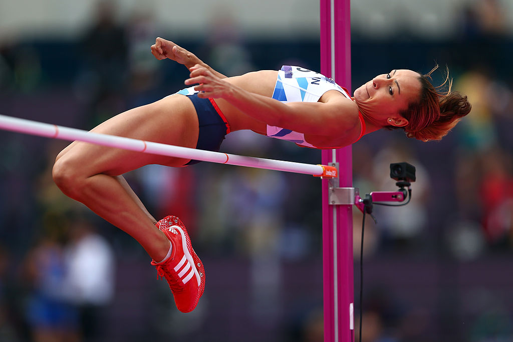 LONDON, ENGLAND - AUGUST 03:  Jessica Ennis of Great Britain competes in the Women's Heptathlon High Jump on Day 7 of the London 2012 Olympic Games at Olympic Stadium on August 3, 2012 in London, England.  (Photo by Michael Steele/Getty Images)